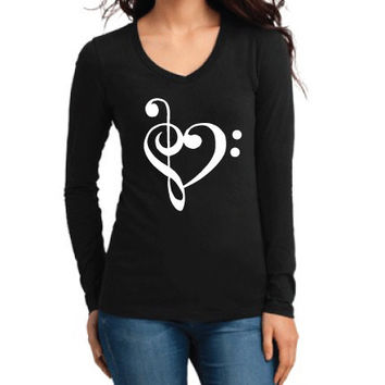 Misc Clothing - Music Love Clefs Heart Long Sleeve V-Neck - Ladies