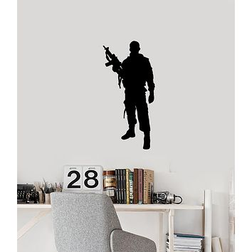 Vinyl Wall Decal Soldier Silhouette Gun Military Room Man Cave Interior Stickers Mural (ig5997)
