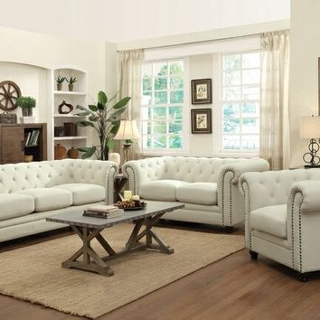 2 pc roy collection oatmeal linen blend upholstered sofa and love seat set with nail head trim and tufted back and arms
