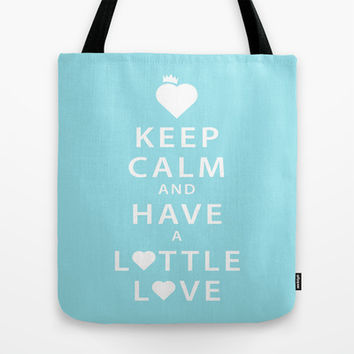 Keep Calm and Have a Lottle Love Blue Tote Bag by Lottle