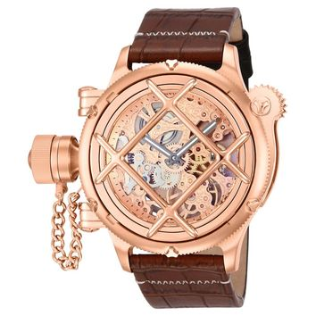 Invicta 14627 Men's Russian Diver Mechanical Rose Gold Skeleton Dial Leather Strap Lefty Dive Watch