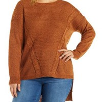 Plus Size Rust Pointelle Pullover Sweater by Charlotte Russe