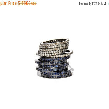 SALE Pave Blue Sapphire Eternity Stacking Band/ Ring