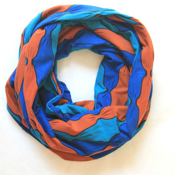 blue bow  scarf,infinity scarf, scarf, scarves, long scarf, loop scarf, gift