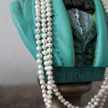 Vintage Long Layering Pearl Necklace (20s Flapper Style)