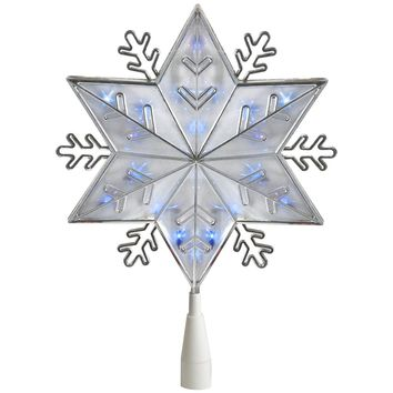 "10"" Silver 8-Point Snowflake Christmas Tree Topper Blue Lights"