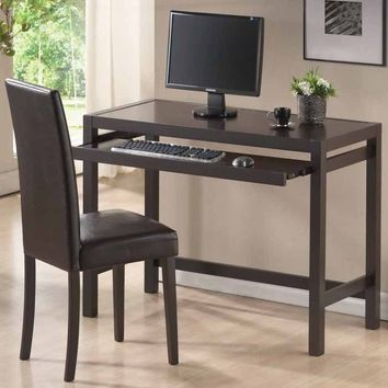 SAVE Baxton Studio Mesa Dark Brown Writing Desk and Parson Chair Set