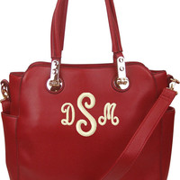 RED Leather Like Personalized Monogram Embroidered  Handbag, Purse, Tote bag, Diaper bag
