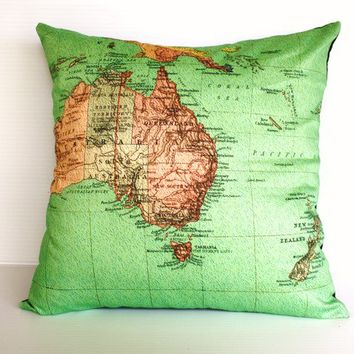 vintage map, pillow AUSTRALIA NEW ZEALAND map cushion, organic cotton cushion cover, pillow, cover, 16 inch, 41cm