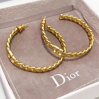 DIOR Fashion Women Cool Circular Pendant Earrings Jewelry Accessories