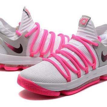 Nike Zoom KD 10 White Pink Basketball Shoe 923f2b5199