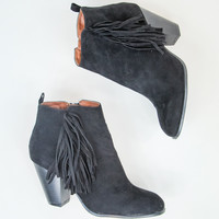 Fringe Booties in Black