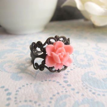 Coral Pink Rose Flower Bud. Romantic Flower Nature Woodlands Spring Jewelry. Adjustable Nickel Lead Free Antiqued Brass Ring. Cocktail Ring