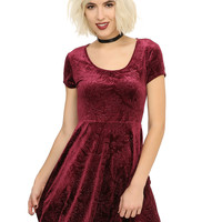 Burgundy Flocked Filigree Skull Dress