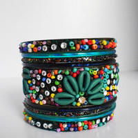 Pakistani bangle / Indian bangle / Handmade bangle / Bangle set / Wedding bangle / Bead bangle / Black / Stacking bangle / Green set/ Flower