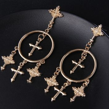 "3.25"" cross dangle 1.25"" hoop earrings pierced"