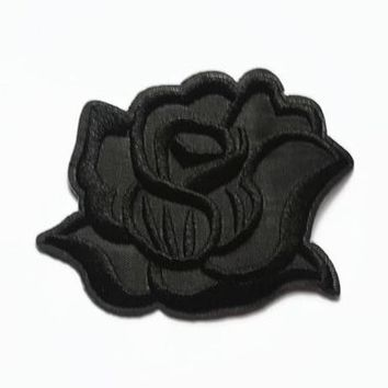 Rose Patch - Black Flower Iron On Patch - Jacket Patch - Flowers Floral Patches - Grunge Patches - Embroidered Patch Black Rose