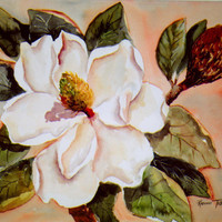 Magnolia Gold, 11 x 15 Original watercolor painting Southern Flower wall art WatercolorsNmore