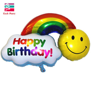 Foil Balloons double side Happy Birthday Wedding Decoration Large size Smile Face Rainbow Globos balls Have A Nice Day kids toys