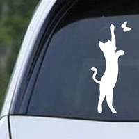 Cat with Butterfly Die Cut Vinyl Decal Sticker