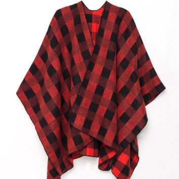 Red-Black Plaid Long Cozy Wrap