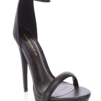 Black Open Toe Ankle Strap High Heels Faux Leather