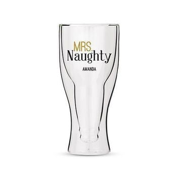 Personalized Double Walled Beer Glass Mrs. Naughty Print (Pack of 1)