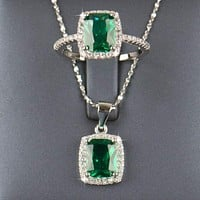 Sterling silver Natural Emerald Jewelry sets