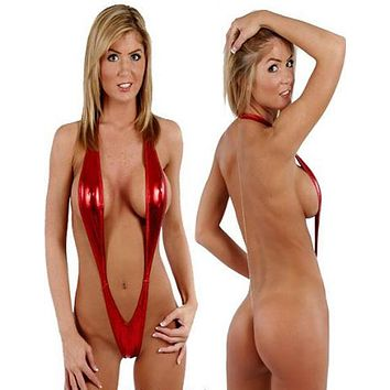 Fun and Daring Metallic Red Sling Shot Deep Plunge Monokini One Piece Swimsuit