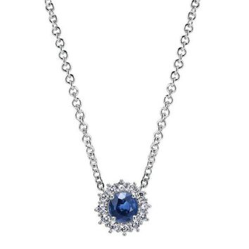 14k white gold sapphire and diamond halo style necklace