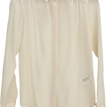 Zara Chic Casual Cropped Blouse In 100% Silk Button Down Shirt Top S
