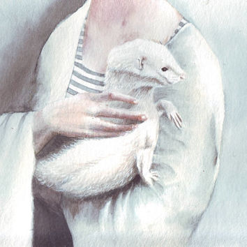 HM062 Original watercolor art Hands with Ferret painting by Helga McLeod
