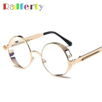 Ralferty Glasses Transparent Clear Steampunk Eyeglass Women Frame Men Vintage Round Gold Eyewear Accessories Gothic Oculos R6631