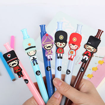 1 PCS Kawaii Cartoon Soldier Ballpoint Pens Korean Stationery Ball Point Pen for Kids School Supplies