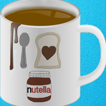 I love nutella funny coffee mug unique mug heppy coffee.