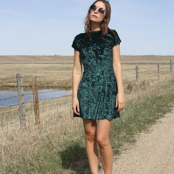 Vintage 90's Aqua Green Velvet Open Back Mini Body Con Style Short Stretch Flower Dress
