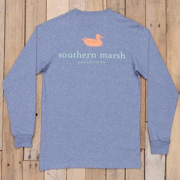 Southern Marsh Long Sleeve Authentic Tee - Washed Slate Heather