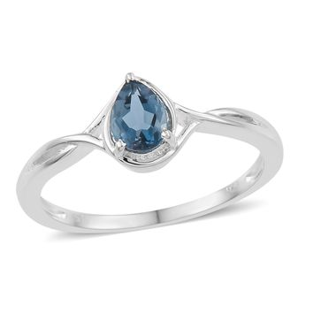 London Blue Topaz Sterling Silver Solitaire Ring