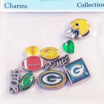 NFL Green Bay Packers 10pc Football Team Floating Charm Themed Set fits Living Memory Foating Locket Necklace Jewelry
