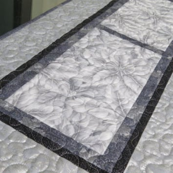 Quilted Christmas Table Runner Silver Gray Warm Wishes 650