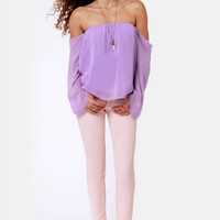 LULUS Exclusive Landslide Off-the-Shoulder Lavender Top