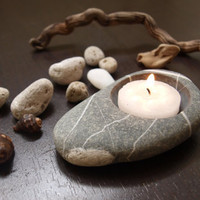 tea time  pebble hand made candlestick  beach stones by Mihulli