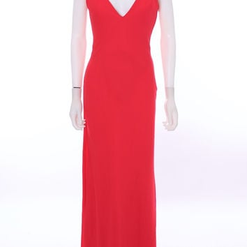 ARMANI COLLEZIONI Lipstick Red Silk Blend Knotted Back Evening Gown Size 4