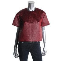 Ellery Womens Metallic Boxy Crop Top