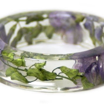 Real Flower Jewelry- Flower Jewelry- Jewelry with Real Flowers- Purple Flowers- Green Bracelet-Resin Jewelry- Purple Bracelet
