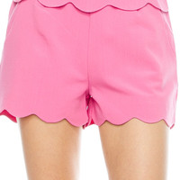 Double Scalloped Shorts- Pink