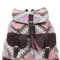 backpack with multi color triangle design