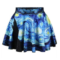 Fashion Women Retro Vintage Digital Print Starry Night Jake Skater Skirt (Size: M) = 1946714308