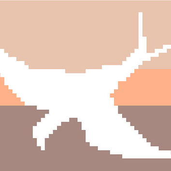Negative silhouette of a single flying bird. Sandy coloured striped background. Modern cross stitch pattern. Contemporary design.