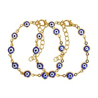 Evil Eye Protection Love Couples Amulets Set Royal Blue Fun Gold-Tone Elegant Charms Bracelets